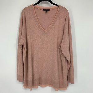Lane Bryant Chiffon Trim V Neck Blush Sweater